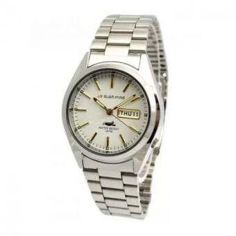 US Submarineนาฬิกาข้อมือผู้ชาย หน้าปัดกลมสีขาว สายสแตนเลส