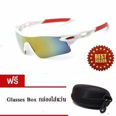 ราคา ราคาถูกที่สุด แว่นกันแดดขี่จักรยาน กีฬากลางแจ้ง Uv400 สีขาว ขาแดง เลนส์ปรอท แถมฟรีกล่องใส่แว่นตา