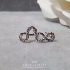 โปรโมชั่น Value Jewelry ต่างหูแฟชั่นประดับเพชร Cz รุ่น Er1010 White Gold Plated ถูก