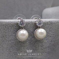 ราคา Value Jewelry ต่างหูแฟชั่นประดับเพชร Cz รุ่น Er1032 White Gold Plated ใหม่