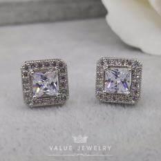 ราคา Value Jewelry ต่างหูแฟชั่นประดับเพชร Cz รุ่น Er1041 White Gold Plated Value Jewelry เป็นต้นฉบับ
