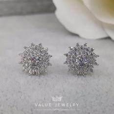 Value Jewelry ต่างหูแฟชั่นประดับเพชร Cz รุ่น Er1042 White Gold Plated Value Jewelry ถูก ใน กรุงเทพมหานคร