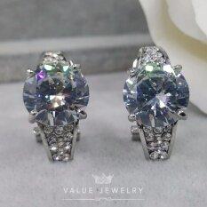 ส่วนลด สินค้า Value Jewelry ต่างหูแฟชั่นประดับเพชร Cz รุ่น Er1051 White Gold Plated