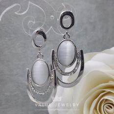 Value Jewelry ต่างหูแฟชั่นประดับเพชร Cz รุ่น Er1062 White Gold Plated เป็นต้นฉบับ