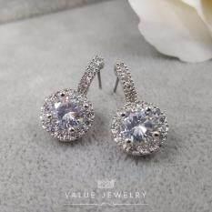 ทบทวน ที่สุด Value Jewelry ต่างหูแฟชั่นประดับเพชร Cz รุ่น Er1071 White Gold Plated