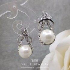 ส่วนลด สินค้า Value Jewelry ต่างหูแฟชั่นประดับเพชร Cz รุ่น Er1078 White Gold Plated