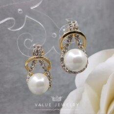 ขาย Value Jewelry ต่างหูแฟชั่นประดับเพชร Cz รุ่น Er1079 Gold Plated ถูก