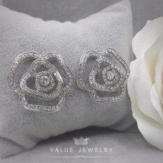 ซื้อ Value Jewelry ต่างหูแฟชั่นประดับเพชร Cz รุ่น Er1126 White Gold Plated ถูก ใน กรุงเทพมหานคร