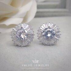 ราคา Value Jewelry ต่างหูแฟชั่นประดับเพชร Cz รุ่น Er1131 White Gold Plated Value Jewelry ใหม่
