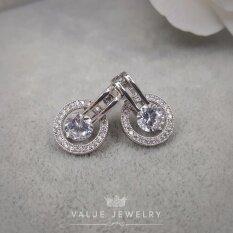 ซื้อ Value Jewelry ต่างหูแฟชั่นประดับเพชร Cz รุ่น Er1140 White Gold Plated Value Jewelry ถูก