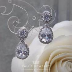 ราคา Value Jewelry ต่างหูแฟชั่นประดับเพชร Cz รุ่น Er1141 White Gold Plated ใหม่