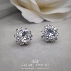 ซื้อ Value Jewelry ต่างหูแฟชั่นประดับเพชร Cz รุ่น Er1149 White Gold Plated Value Jewelry
