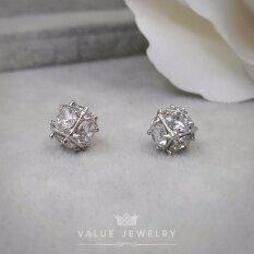 ขาย Value Jewelry ต่างหูแฟชั่นประดับเพชร Cz รุ่น Er1152 White Gold Plated ใหม่