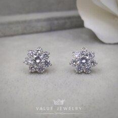 โปรโมชั่น Value Jewelry ต่างหูแฟชั่นประดับเพชร Cz รุ่น Er1155 White Gold Plated