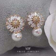 ส่วนลด สินค้า Value Jewelry ต่างหูแฟชั่นประดับเพชร Cz รุ่น Er1167 Gold Plated