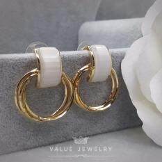 ราคา Value Jewelry ต่างหูแฟชั่นประดับเพชร Cz รุ่น Er1168 Gold Plated ใหม่ ถูก