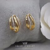 Value Jewelry ต่างหูแฟชั่นประดับเพชร Cz รุ่น Er2012 Gold Plated ถูก