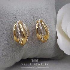 ซื้อ Value Jewelry ต่างหูแฟชั่นประดับเพชร Cz รุ่น Er2012 Gold Plated ออนไลน์