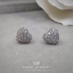 Value Jewelry ต่างหูแฟชั่นประดับเพชร Cz รุ่น Er2175 White Gold Plated ใหม่ล่าสุด