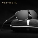 Veithdia 2492 Fashion Square Polarized Sunglasses Men Driving Glasses Metal Alloy Frame Black Grey Intl จีน