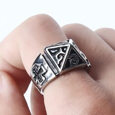ราคา Victory18 Fashion Men Rings Pyramid Retro Rock Goth Band Punk Silver Intl ใหม่