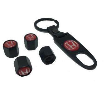 VISONTER จุ๊บลม จุ๊บยางรถยนต์ Honda (สีดำ+โลโก้สีแดง)