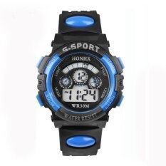 เด็กชายกันน้ำเด็กดิจิตอล Led Quartz นาฬิกาปลุกนาฬิกาข้อมือกีฬา Blue By Fashiondoor.