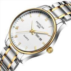 โปรโมชั่น Waterproof Luminous Couple Watch Stainless Steel Sport Quartz Wrist Watch Silver Intl ถูก