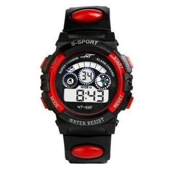 กันน้ำเด็กผู้ชายนาฬิกาดิจิตอล LED นาฬิกาปลุกนาฬิกาข้อมือกีฬา RD - INTL