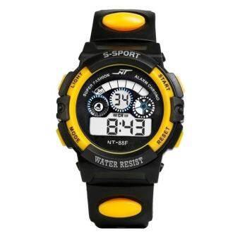 กันน้ำเด็กผู้ชายนาฬิกาดิจิตอล LED นาฬิกาปลุกนาฬิกาข้อมือกีฬา YE - INTL