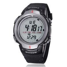 Waterproof Outdoor Sports Men Digital Led Quartz Alarm Wrist Watch Grey Intl เป็นต้นฉบับ