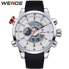 ซื้อ Weide Men Quartz Military Watch Analog Digital 3Atm Waterproof Rubber Strap Men Sports Watches Wh3401 Silver White Intl ถูก จีน