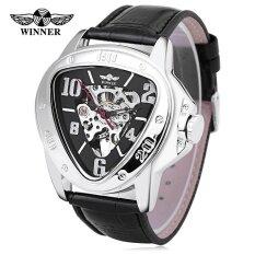 ขาย Winner 516 Male Auto Mechanical Watch Triangle Dial Leather Band Men Wristwatch Intl Winner ถูก