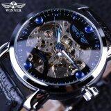 ซื้อ Winner Black Skeleton Designer Blue Engraving Clock Men Leather Strap Mens Watches Top Brand Luxury Automatic Watch Montre Homme Intl จีน