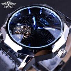 ขาย ซื้อ Winner Blue Ocean Geometry Design Transparent Skeleton Dial Men Watch Top Brand Luxury Automatic Fashion Mechanical Watch Clock Intl จีน