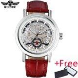 โปรโมชั่น Winner Casual Brand Men Fashion Sport Mechanical Watches Leather Strap Men S Automatic Skeleton Watches Male Clock Reloj Hombre Intl Winner