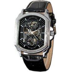 ขาย Winner Classic Leather Strap Automatic Mechanical Skeleton Mennsport Watch Black Ww064 Intl จีน ถูก