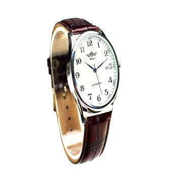 WINNER Men's Automatic Leather Wrist Watch (Black)