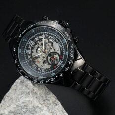 ราคา Winner Stainless Steel Case And Leather Strap Men Male Fashion Business Sport Casual Skeleton Automatic Mechanical Wrist Watch Black Strap Black Face Intl ถูก