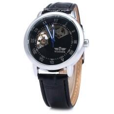 ขาย Winner W032 Men Fan Shaped Hollow Mechanical Watch With Leather Band Arabic Roman Numeral Scales Intl Unbranded Generic ใน สมุทรปราการ