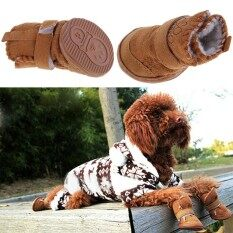 ฤดูหนาวอบอุ่นฝ้ายสัตว์เลี้ยงสุนัขรองเท้าบู๊ทรองเท้าหิมะสีกากีขนาดแอล - นานาชาติ By Top1a.
