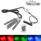 ราคา 4 In 1 Wireless Remote Control Rgb 9 Led Car Auto Interior Floor Decor Atmosphere Light 7 Colors With Telecontroller 6W Intl เป็นต้นฉบับ