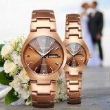 ขาย ซื้อ Wlisth ชายนาฬิกาส่องสว่างสีทองกันน้ำคู่สายพานเหล็กนาฬิกาผู้ชายนาฬิกาควอตซ์ชาย นานาชาติ จีน