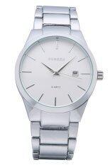 ราคา ราคาถูกที่สุด Curren คนเงินนาฬิกาข้อมือสายสเตนเลส ไวท์ 8106