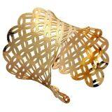 ซื้อ Women Fashion Gold Plated Concave Hollow Out Cuff Wide Bangle Gift Yazilind ออนไลน์