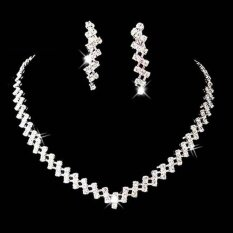 Women Inlay Rhinestone Necklace Earrings Jewelry Sets For Bride Wedding Party - Intl.
