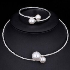 Women Simulated Pearl Bridal Necklace+bracelet Set Jewelry Sets - Intl.