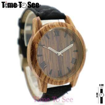 Wood Watch นาฬิกาข้อมือสุภาพสตรีและเด็ก(12+) สายหนัง PU หน้าปัด/ตัวเรือน ลายไม้