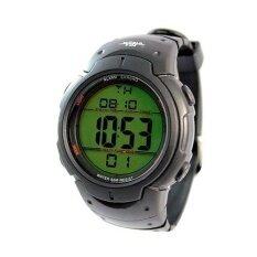 ขาย ซื้อ ออนไลน์ World Time Digital Watch นาฬิกาข้อมือ สีดำ ดำ สายเรซิ่น