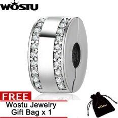 ขาย Wostu 100 925 Sterling Silver Classic Clip With Clear Cz Beads Fit Original Charm Bracelet Fashion Diy Jewelry Zbpsc105 Intl ถูก